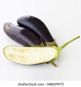 Eggplant on white background, vegetable