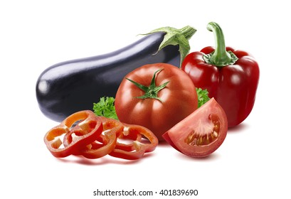 Eggplant, red bell pepper slices, tomato ratatouille country dish ingredients isolated on white background as package design element
