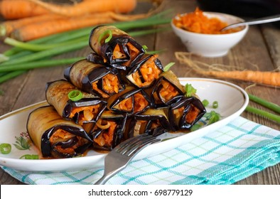 Eggplant rolls with carrots and garlic
