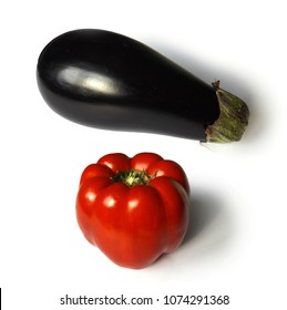 eggplant and sweet pepper on white background