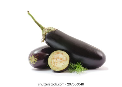 Eggplants (aubergines or brinjals) isolated on white background.