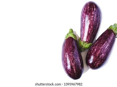 Eggplants isolated on white background.