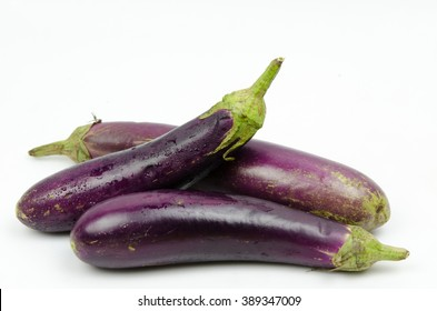 eggplants on white background