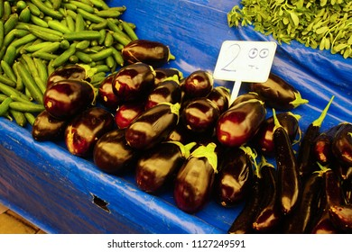 Eggplants and other vegetables in central market of Canakkale, Turkey