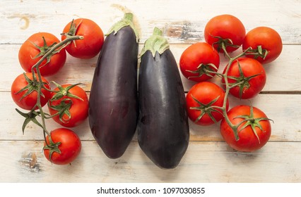 Eggplants and tomatoes