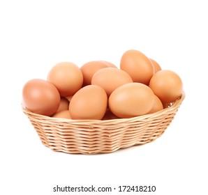 Eggs at basket.