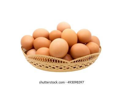 eggs in the basket. Isolated on white background