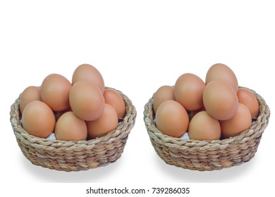 The eggs are in a basket on a white background.