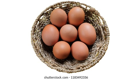 Eggs in a basket, white background