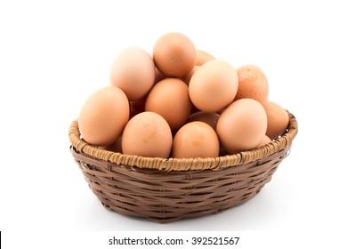 Eggs in basket white background