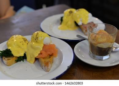 Eggs Benedict and Eggs Florentine, American Breakfast or Brunch