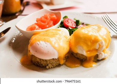 Eggs Benedict with sauce hollandes  and fresh salmon