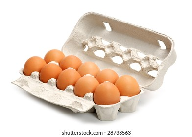 Eggs in a box isolated on white