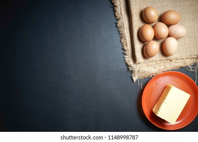 eggs and butter on sackcloth
