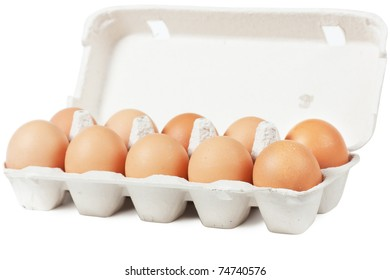 Eggs in carton. Nutritious eating.
