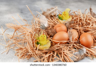 A lot of eggs and chicken-toy lie on the background of hay, top view
