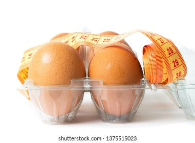 Eggs with the diet meter on the white