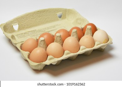 eggs with different browns on a white background