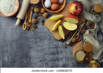 Eggs, flour, spices. Natural food. Healthy lifestyle. Products in the rustic setting and kitchen tools. Top view.The concept of healthy eating.