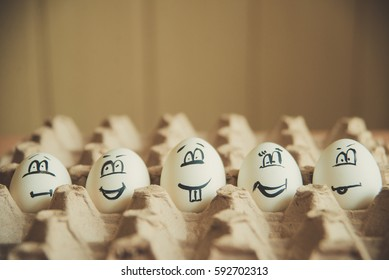 Eggs with funny faces on them