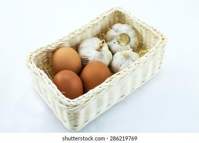 eggs and garlics