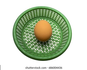eggs in green basket on a white background.