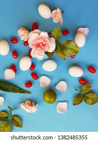 Eggs and green salat with red tomato on blue background concept healthy food for vegab diet  easter banner