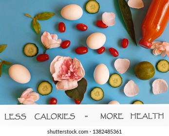 Eggs and green salat with red tomato on blue background concept healthy food  diet  easter banner Coral ,palette,Living Coral palette
