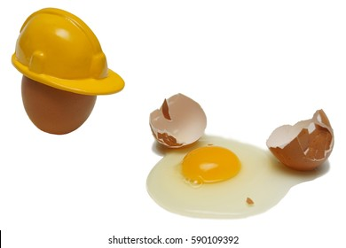 Eggs with a helmet and Broken egg