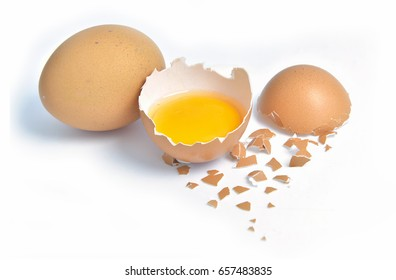 Eggs hen fresh raw on white background