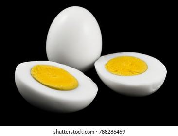Eggs isolated on black background