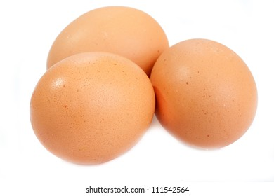 Eggs isolated on the white background.