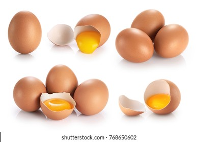 Eggs isolated on white background. Broken egg, yolk. Collection.