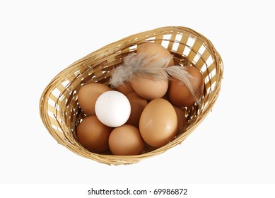 Eggs lie in a basket