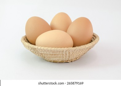 eggs on basket white background