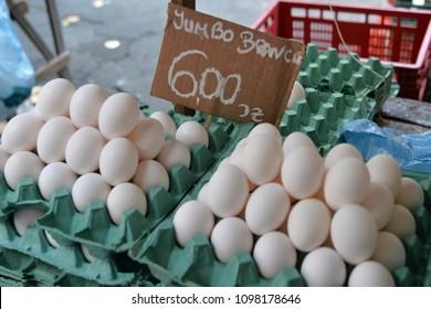 Eggs on the counter at an outdoor market in Rio de Janeiro