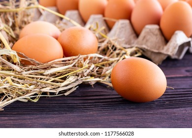 Eggs on the hay.