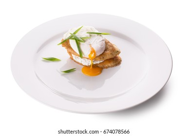 Eggs on a plate on a white background