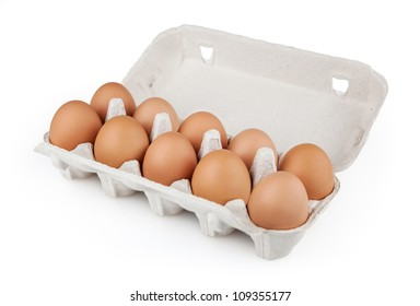 Eggs in package isolated on white background with clipping path