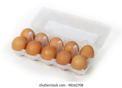 Eggs in package isolated on white