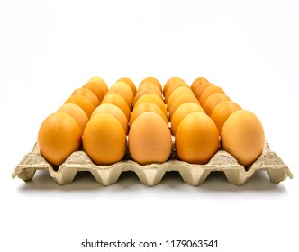 Eggs in paper tray on white background.