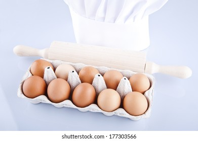 eggs with roller over white