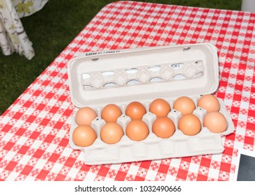 Eggs for sale at outdoor farmers market
