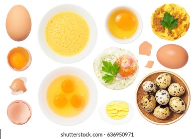 Eggs Set Isolated on White Background. Contain different kind of eggs: boiled, scrambled, quail, raw, mixed, fried, shell.