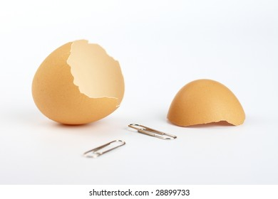 eggs shells and two clips on white