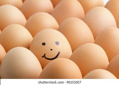 Eggs, smiling.
