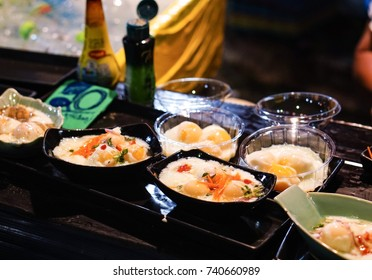 Eggs soaked in mineral water cooked ready to eat in Lampang Province, Thailand.