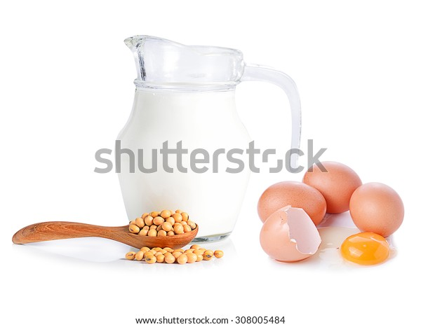 eggs ,soybeans and milk on white background.