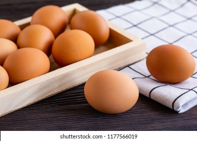 Eggs in the wooden box.