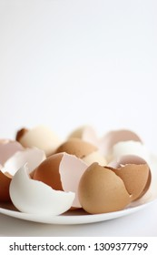 Eggshell. Colorful hen's eggs. White and Brown Eggshells isolated on white Background. Breakfast Healthy Food.